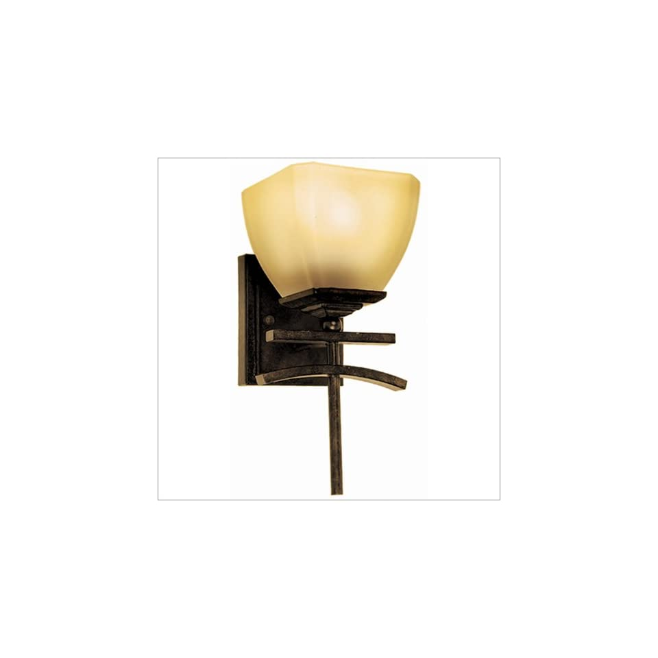 Home Decor Sentinel Venetian Bronze Wall Sconce with Amber Scavo Glass