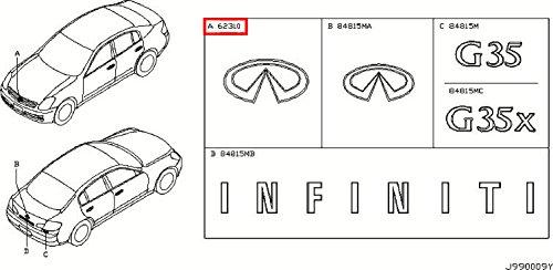 Infiniti Genuine Miscellaneous Emblem & Name Label Front Emblem 62892-AM800 G35