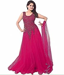 Pashimo Net Fabric Gown For Women ( Gowns with Dupatta _ Gown for Girls _ Gown for Women Party Wear ) (Dark Pink)