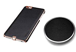 iPhone 6 / 6s Plus, Wireless Charging Case & Charging Pad Bundle, Super Elegant Qi Charging Pad and Wireless Charging Case, Executive Leather Series by Pantheon (Black + Black)