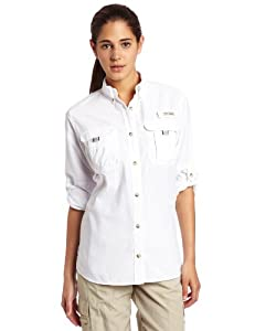 Columbia Women's Bahama Long Sleeve Shirt, White, Medium