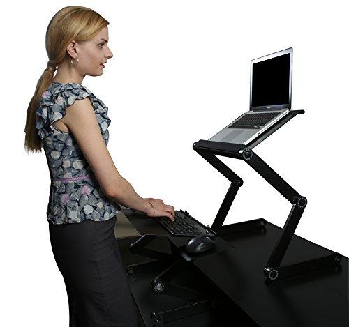 Workez Standing Desk Conversion Kit - Adjustable Ergonomic Sit to Stand Office Desk for Laptops & Desktops (BLACK w/ 2 Cooling Fans + 3 USB Ports in monitor/laptop stand. Perfect for a Laptop Standing Desk)