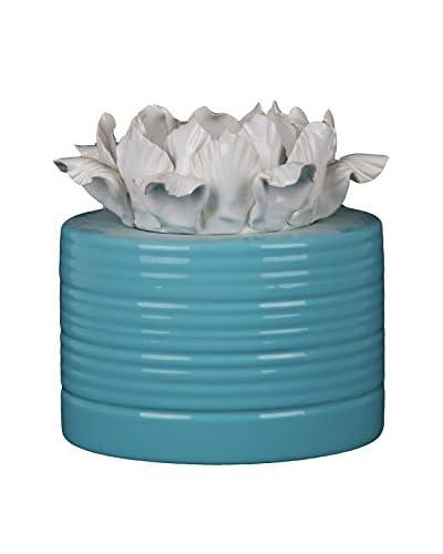 Privilege, Inc. Small Ceramic Vase with Flower, Blue