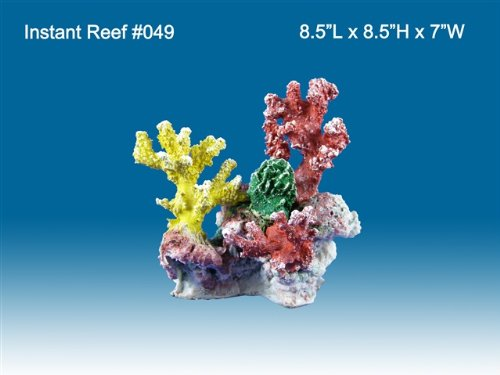 Instant Reef #049 Artificial Coral Reef Aquarium Decoration for Saltwater Fish, Marine Fish Only with Live Rock Aquarium, Coral Reef Tank, Freshwater Aquarium. Gorgeous Corals, Non-Toxic, Easy to Clean. Reef Aquarium at Saltwater Fish Only Tank costs