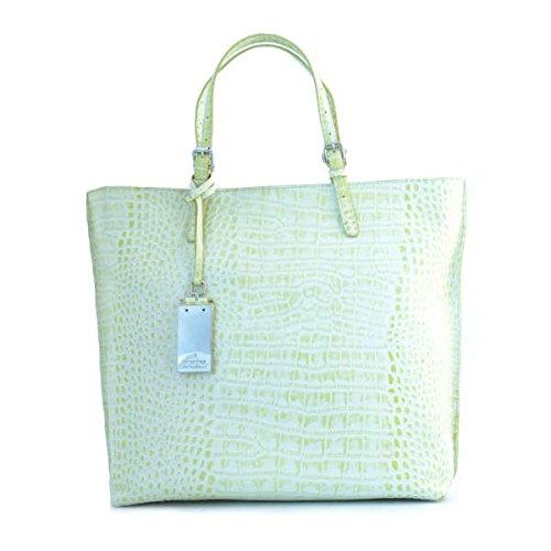 Borsa shopping tote donna Cromia in pelle gialla chiara 1402349LIMONE