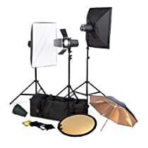 CowboyStudio Photo Studio Three Monolight Flash Lighting Kit with Carrying Case - 3 Studio Flash/Strobe, 2 Softboxes, 1 Barndoor