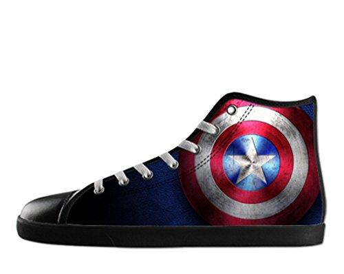 Men's Fashion Canvas Captain America Theme Black High Top Shoes US 11 (America Shoes Men compare prices)
