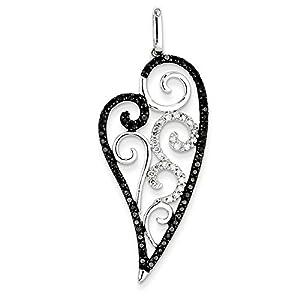 14K White Gold Black & White Diamond Heart Pendant (2.01 in x 0.79 in)