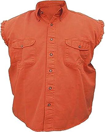 Mens sleeveless denim cotton twill biker shirt orange xl for Sleeveless cotton button down shirts