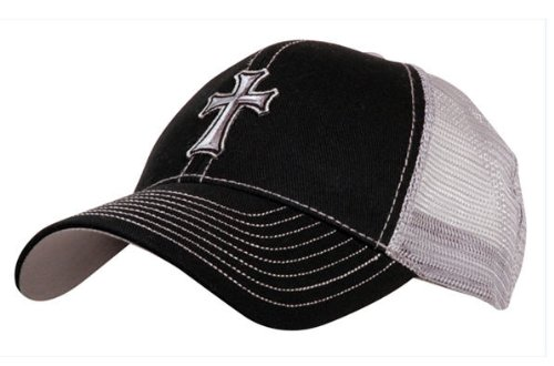 Cap - Cross Black Mesh - Christian Hat