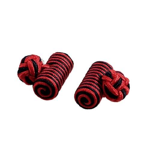 Allegra K Pair Striped Knotted Ball Men Shirt Suit Decor Cufflink Tie Knot Dark Blue Red