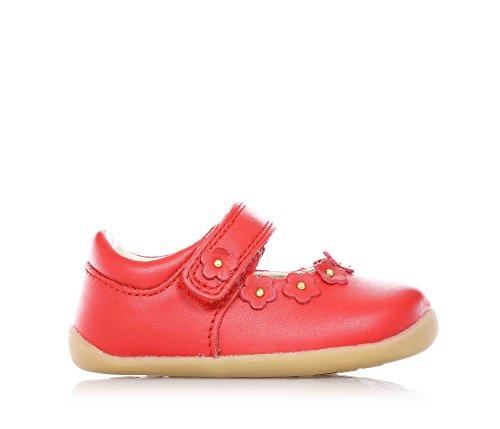 BOBUX - Ballerina rossa, scarpa, in pelle traspirante, flessibile, chiusura a strappo, materiali non tossici, Bambina-21