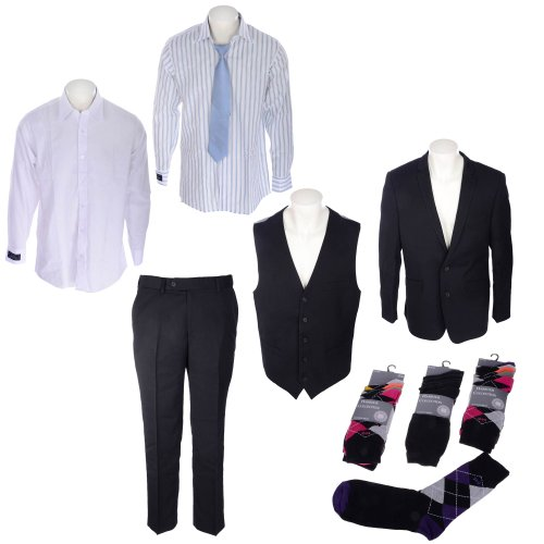 Mens 3 Pack Suit Includes Jacket, Waistcoat, Trousers, 2x Shirts and Tie and 15 Pack of Socks in Size Large