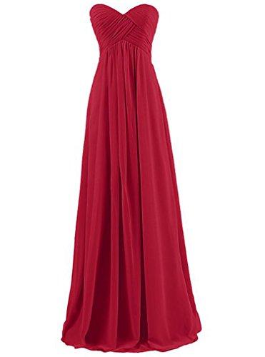 AIYUE Abito Donna Vestiti Estivi Eleganti Lunghi Di Chiffon Senza Maniche Da Sera Cerimonia Ballo Cocktail Dress Vestito Maxi (M, vino rosso)