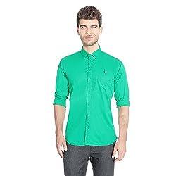 FlyJohn Green Cotton Silk Men's Shirt