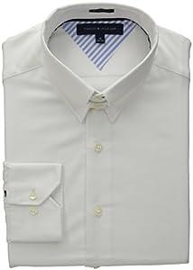 Tommy Hilfiger Men's Regular Fit Tab Collar Solid, White, 15 32/33