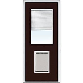 National Door Company Z004579l Steel Left Hand Prehung In Swing Entry Door With Pet Door Clear
