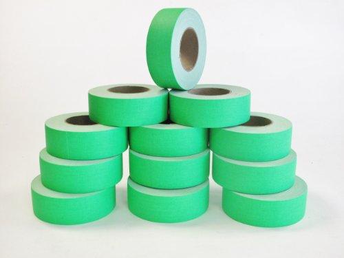 12 Rolls Premium Professional Grade Gaffer Tape - 2 Inch X 50 Yards - Fluorescent / Neon Green Color - 12 Rolls Per Case