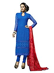 Suchi Fashion Embroidered Blue Georgette Dress Material