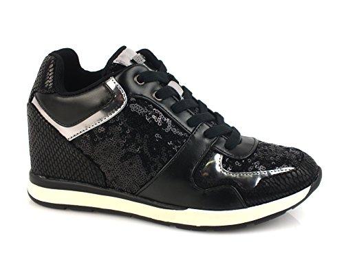 GUESS Laceyy sneakers zeppa 7 pailettes TESSUTO BLACK FLLCY3FAB12 37