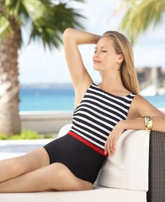 32cd584749d80 swimdresses: Miraclesuit Regatta-Stripe One-Piece Swimsuit