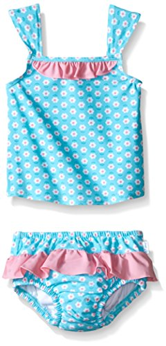 i play. Baby Girls Ruffle Tankini Set with Swim Diaper, Aqua Daisy, 6 Months