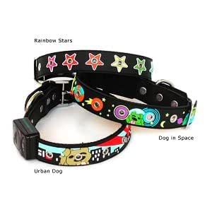 "Designer's LED Flashing Nighttime Safety Glow-in-the-Dark 3-D Embossed Dog Collar - Rainbow Stars - M (13""-17"")"