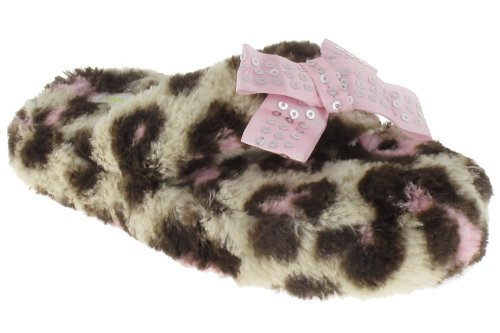Cheap Capelli New York Leopard Faux Fur Thong With Sequins Bow Girls Indoor Slippers (B00937MW0W)