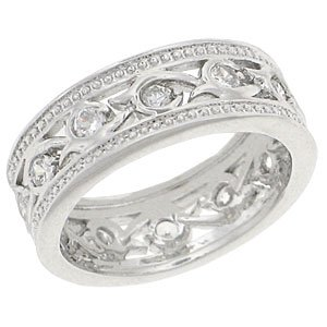 T26 TqwRN3870 Rhodium Silver CZ Stone Filigree Band Wedding Anniversary (10)