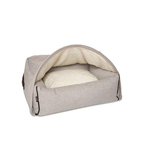 Kona Cave-Grotte Snuggle Lit pour chien | Lit en tissu à chevrons tendance et élégant | Housse de lit pour sous le dormant