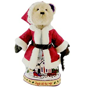"Sleigh Bells Ring 16"" Plush Santa Bear w/Stand By Boyds Bears Jim Shore"