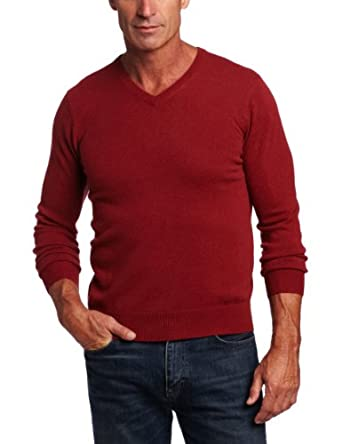 Williams Cashmere Men's 100% Cashmere V-Neck Sweater, Rust, X-Large