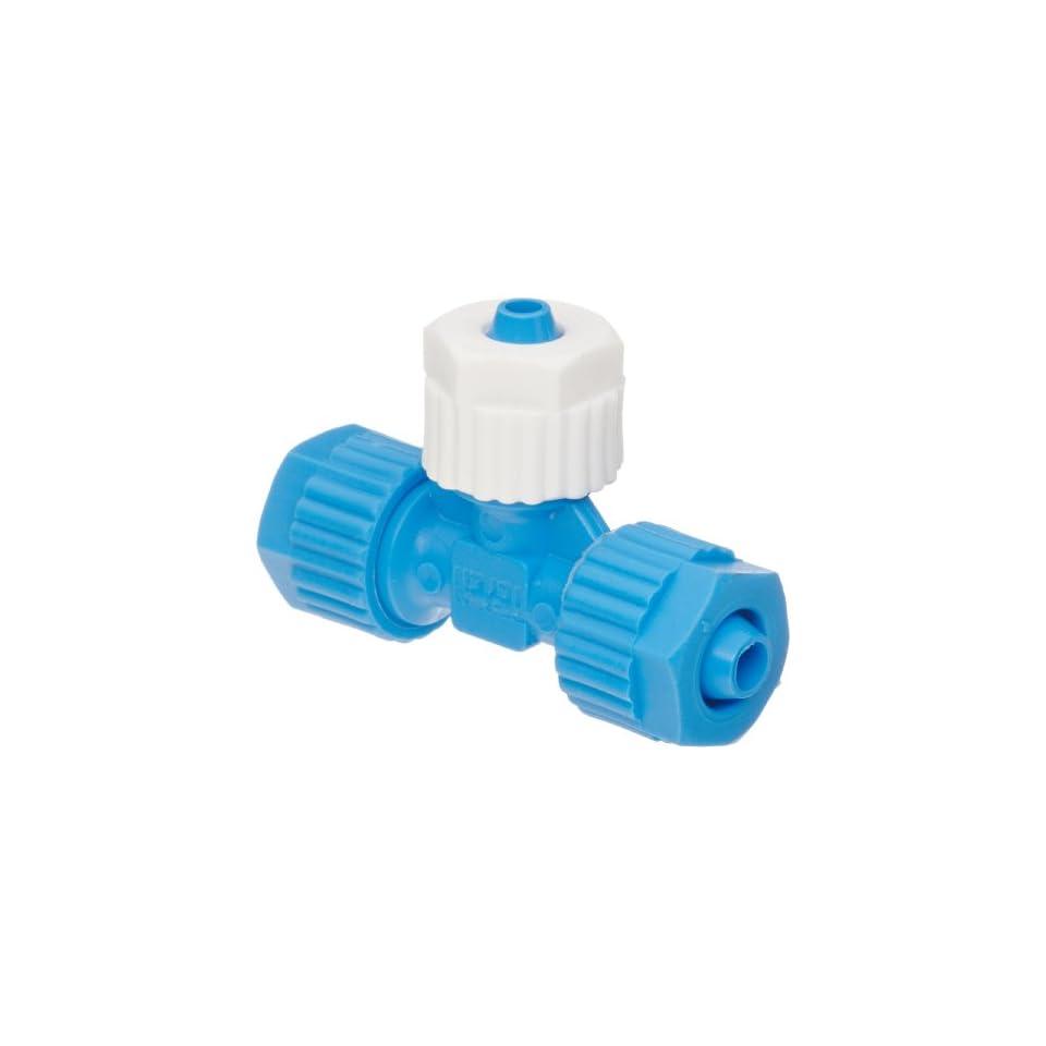 Tefen Fiberglass Polypropylene Compression Tube Fitting, Tee, Blue/White, 8 mm x 8 mm x 6 mm  Tube OD (Pack of 5)