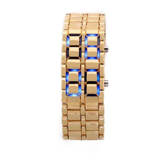 Mens Gold Metal Band Iron Lava Samurai Style Wrist Watch Faceless Japanese Inspired Blue Led
