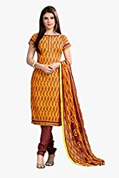 Varanga Orange Printed Cotton Dress Material With Matching Dupatta KFCRS7005