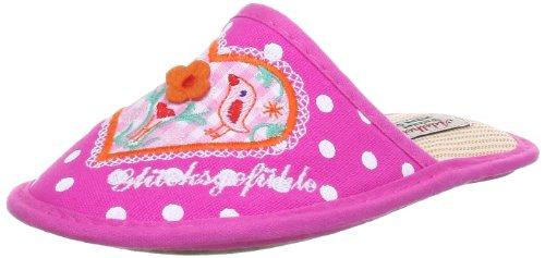 Adelheid Glücksgefühle Kinderstoffpantoffel Slippers Girls Pink Pink (fuchsia weiss gepunktet 710) Size: 24/25