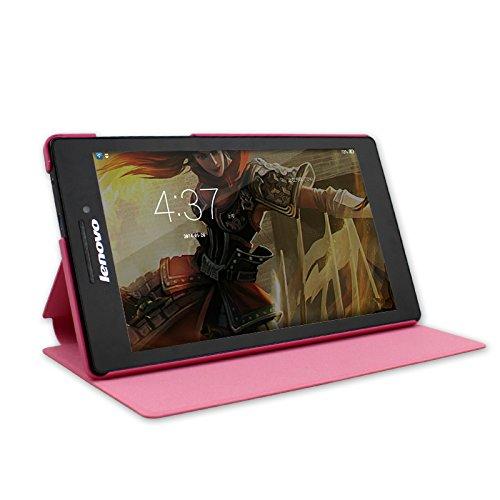 IVSO Lenovo Tab 2 A7-10 Hülle Case Folio Tasche Cover - mit Standfunction Slim Style Leder Folio Schutzhülle NUR geeignet für Lenovo Tab 2 A7-10 17,8 cm (7 Zoll IPS) Tablet (Für Lenovo Tab 2 A7-10, Rot)