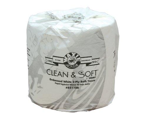 WAXIE 1945 Clean and Soft Bath Tissue Roll, 2-Ply, 4-3/32 Length x 3-1/2 Width, White (Case of 80 Rolls, 500 Sheets per Roll) kitbwk6500bwkfscbgrn value kit boardwalk scrub brush bwkfscbgrn and boardwalk 6500 two ply facial tissue bwk6500