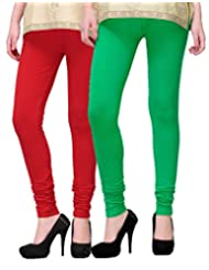 2Day Women's Cotton Churidaar Legging Red/Green (Pack Of 2)