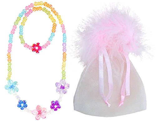 Blooming Beads in Pink Marabou - Girl's Princess Dress up Necklace & Bracelet Jewelry Set