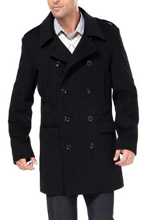 MODERM Men's 'Victor' Cashmere Blend Military Pea Coat - Black M