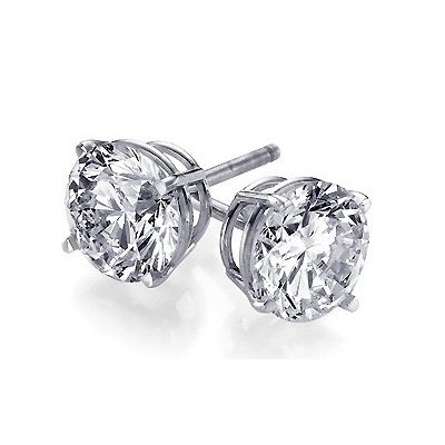 1 Carat Sterling Silver Round CZ Stud Earrings 5mm