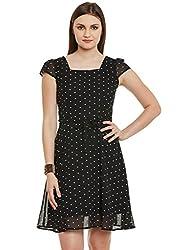 Black Polka Dot Poly Georgette Dress