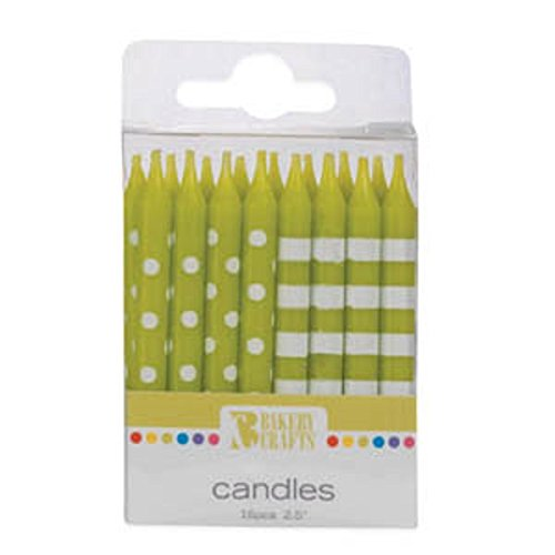 Oasis Supply Stripes and Dots Birthday Candles, 2.5-Inch, Lime Green - 1