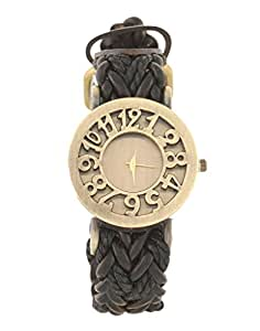 SUNTRANCE SUN TRANCE Black strap with golden dial Analog Watch For Girls