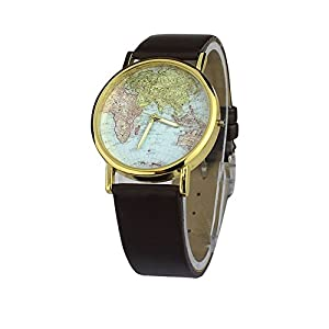 Bocideal 1pc 2014 Womens Retro World Map Design Leather Alloy Band Analog Quartz Wrist Watch Brown