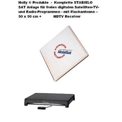 Komplette SAT Anlage für freien digitalen Satelliten-TV- und Radio-Programmen - mit Flachantenne KATHREIN BAS 60 + KATHREIN DVB-T-UFS 940 sw Receiver 4000 Speicherplätze DVB-S-Receiver HDTV; 1 x CI; USB 2.0; HDMI; IR-Sensor; SW-Download; EPG; Videotext; Videocinch;AC 3 opt.; 230/12V; CAP-Befehlssatz; Schwarz Sat-ZF-Eingang 950-2150MHz; 4000 Speicher - Holly ® Produkte STABIELO - holly-sunshade ®