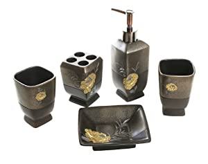 5 Pc Bathroom Accessory Set and Bath Ensemble - Great Gift Idea For New Homes
