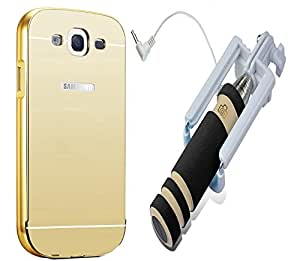 Novo Style Back Cover Case with Bumper Frame Case for Samsung Galaxy A7  Golden + Wired Selfie Stick No Battery Charging Premium Sturdy Design Best Pocket Sized Selfie Stick