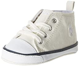 Ralph Lauren Layette Harbour Hi Top Sneaker (Infant/Toddler),White Sparkle,3 M US Infant